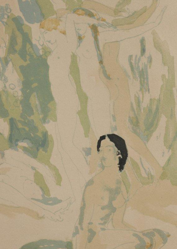 """A.B. DAVIES LITHOGRAPH """"NUDES IN THE GARDEN"""" - 5"""