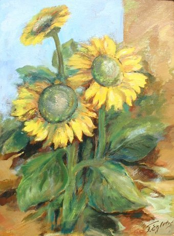 1003: EGLITIS LATVIAN PAINTING SUNFLOWERS