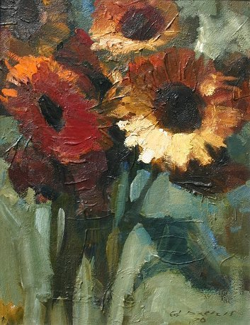 1008: E.DZENIS LATVIAN PAINTING SUNFLOWERS