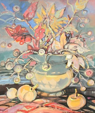 1012: KOVALEVSKA LATVIAN STILL LIFE FRUIT PAINTING