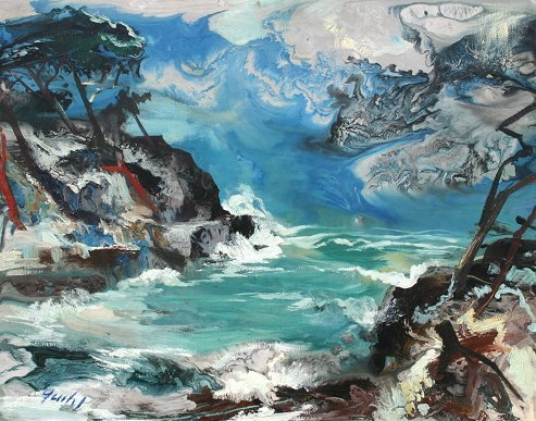 1013: JANIS GAILIS LATVIAN PAINTING ''THE GREEN SEA II'