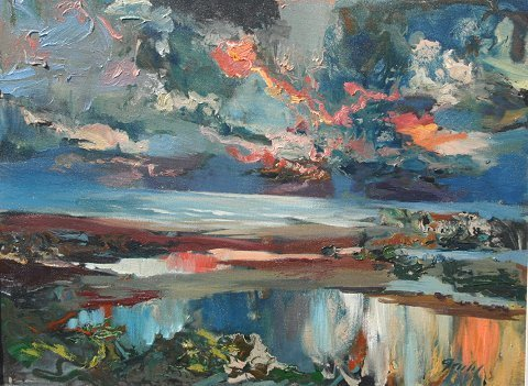 1014: JANIS GAILIS LATVIAN PAINTING COLORFUL EVENING