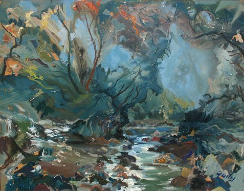1015: JANIS GAILIS LATVIAN PAINTING ''THE BROOK''