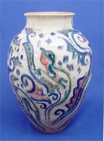 1038: SHEARWATER ART POTTERY VASE MISSISSIPPI LIZARDS