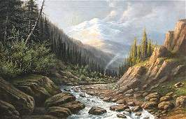 1381 WA CARSON LANDSCAPE PAINTING INDIAN CAMP