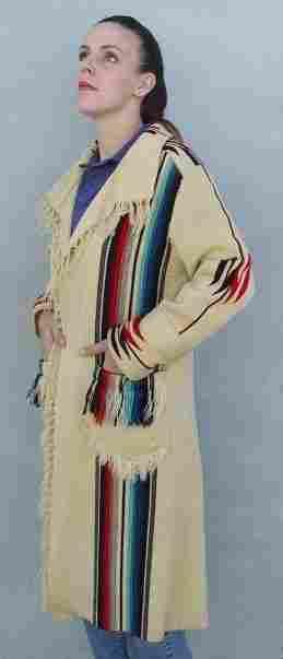 HAND WOVEN LADY'S LONG COAT CHIMAYO NEW MEXICO