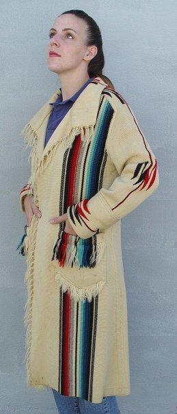 7: HAND WOVEN LADY'S LONG COAT CHIMAYO NEW MEXICO