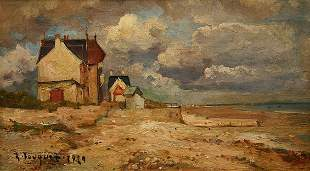 FRENCH BEACH PAINTING 1929 BY FOUQUES