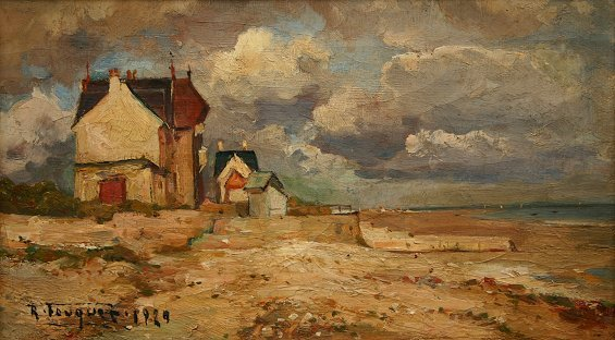 14: FRENCH BEACH PAINTING 1929 BY FOUQUES
