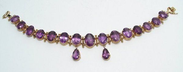 AMETHYST 14K CHOKER NECKLACE 276 CT TOTAL