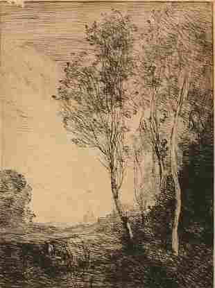 SOUVENIR D'ITALIE ETCHING AFTER COROT 19TH C.