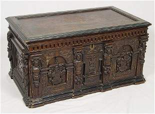 CONTINENTAL CARVED OAK COFFER