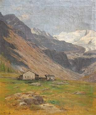 HANS KAMLAH ALPINE LANDSCAPE PAINTING