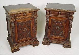 PAIR OF HEAVILY CARVED ITALIAN STANDS