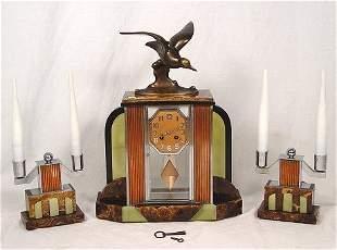ART DECO FRENCH CRYSTAL REGULATOR CLOCK GARNITURE