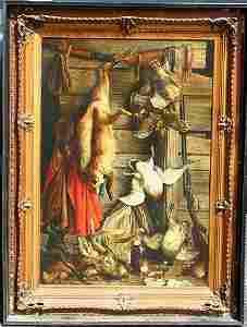 312: ARTHUR WOELFLE 4 ROSES WHISKEY AD LITHO ON TIN