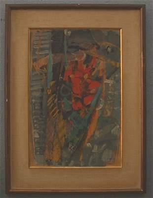JACQUES YANKEL PAINTING BOUQUET ORANGE 1958