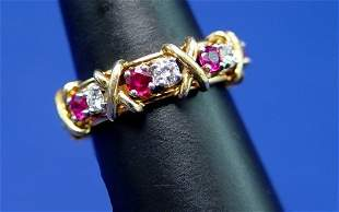 TIFFANY 16 STONE RING SCHLUMBERGER DIAMOND RUBY