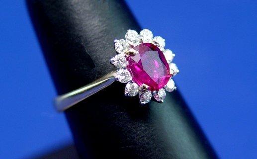 17: NATURAL RUBY DIAMOND RING PRINCESS DI STYLE SZ 6.5