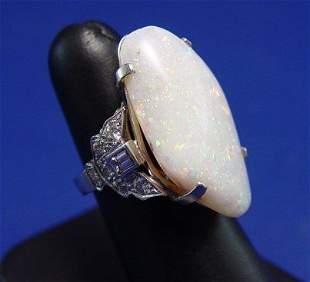 22ct AUSTRALIAN OPAL PLATINUM DIAMOND RING SZ 7