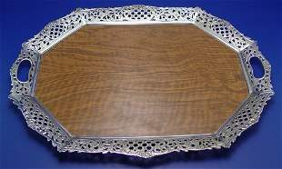 SILVERPLATE FRAMED SERVING TRAY