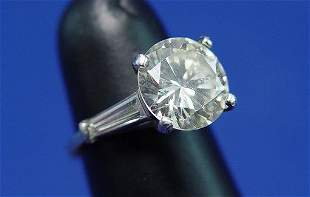 4ct + DIAMOND SOLITAIRE PLATINUM SZ 5