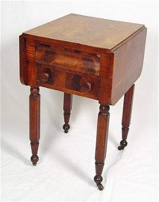 19th C TWO DRAWER DROP-LEAF WORK STAND