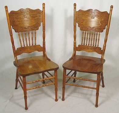 Pressed Back Dining Chairs ~ Set of golden oak pressed back dining chairs