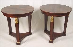 PAIR 19TH C EMPIRE SIDE TABLES BRONZE MASQUERONS