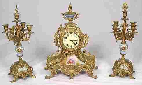 FRENCH GILT METAL & PORCELAIN CLOCK GARNITURE