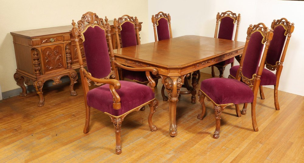 8 PIECE FRENCH CARVED WALNUT DINING ROOM SUITE