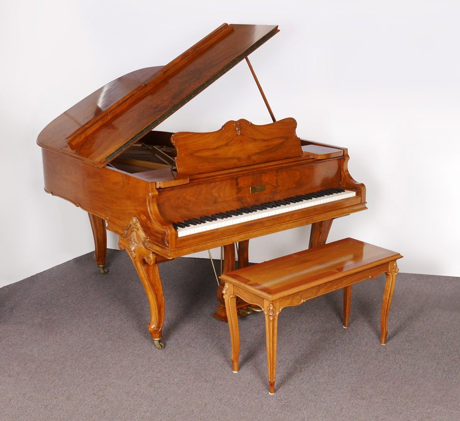 KNABE BURL WALNUT BABY GRAND PIANO