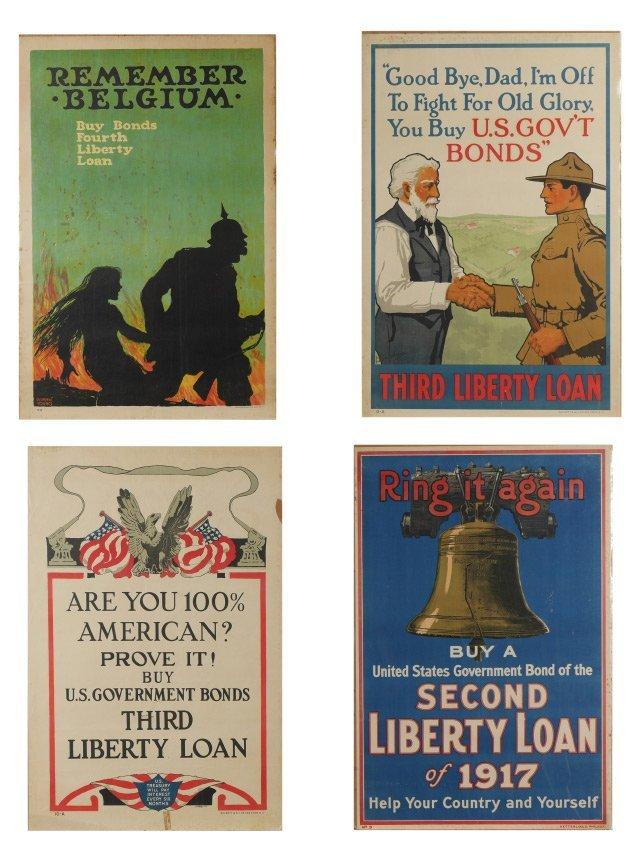 4 WWI LIBERTY BOND POSTERS