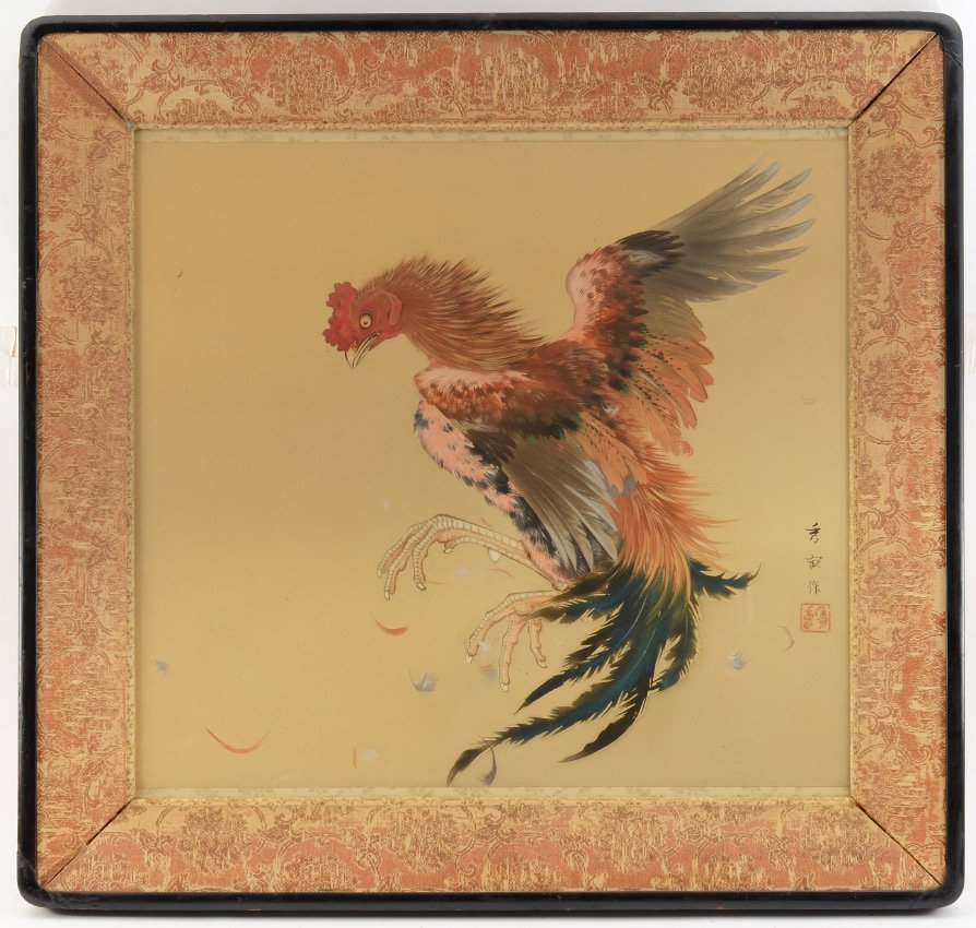 FINE ORIENTAL PAINTING OF ROOSTER