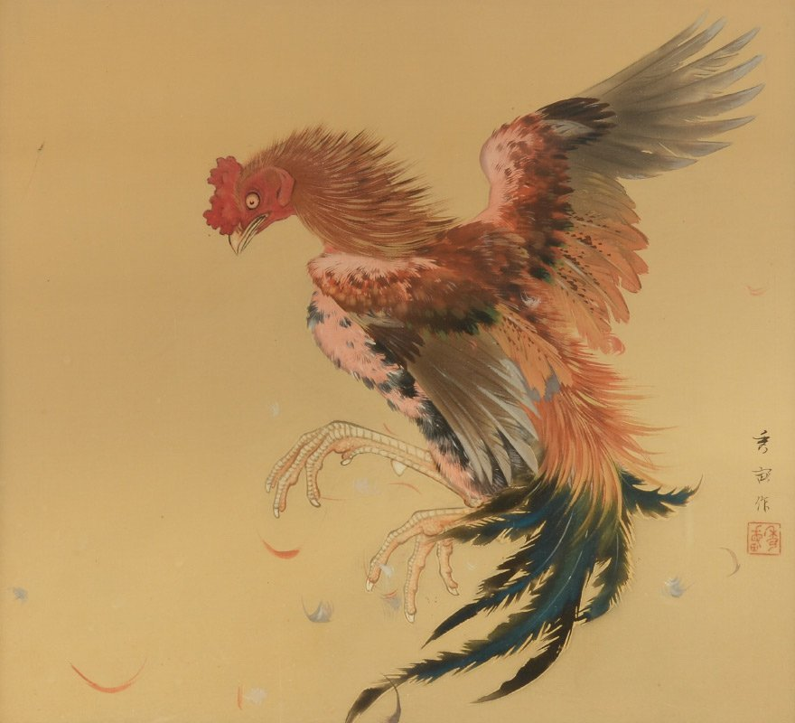 FINE ORIENTAL PAINTING OF ROOSTER - 2