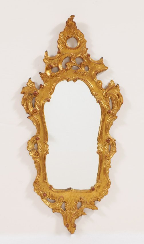 CARVED GILT WOOD ROCOCO STYLE MIRROR