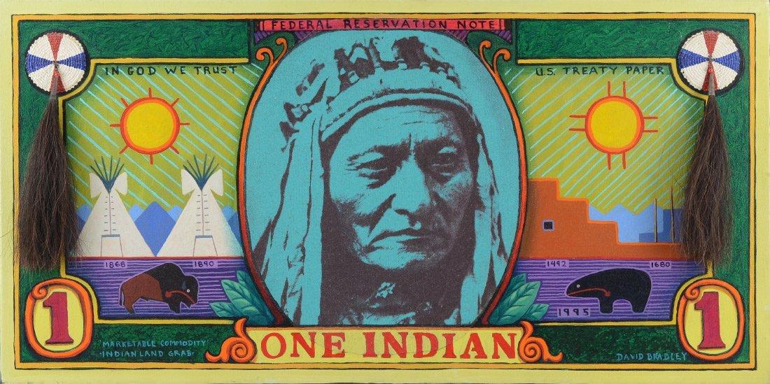 DAVID BRADLEY AMERICAN INDIAN MIXED MEDIA PAINTING