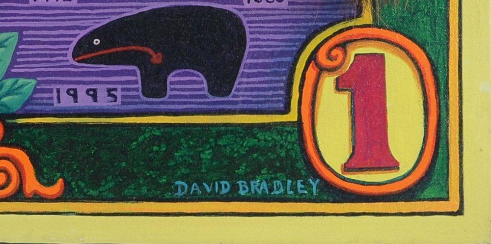 DAVID BRADLEY AMERICAN INDIAN MIXED MEDIA PAINTING - 2