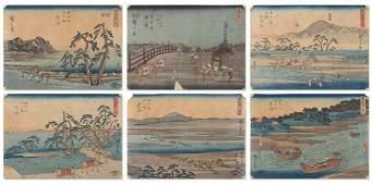 6 PIECE MINIATURE JAPANESE WOODBLOCK PRINT LOT