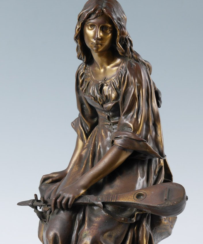 PAUL MENGIN GIRL WITH MANDOLIN FRENCH BRONZE