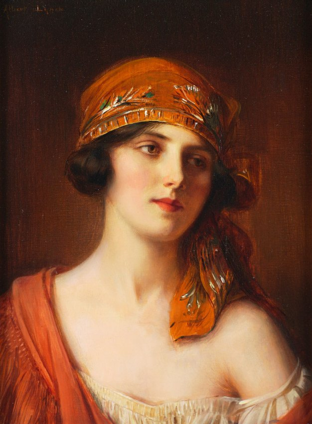 ALBERT LYNCH PAINTING YOUNG GYPSY GIRL