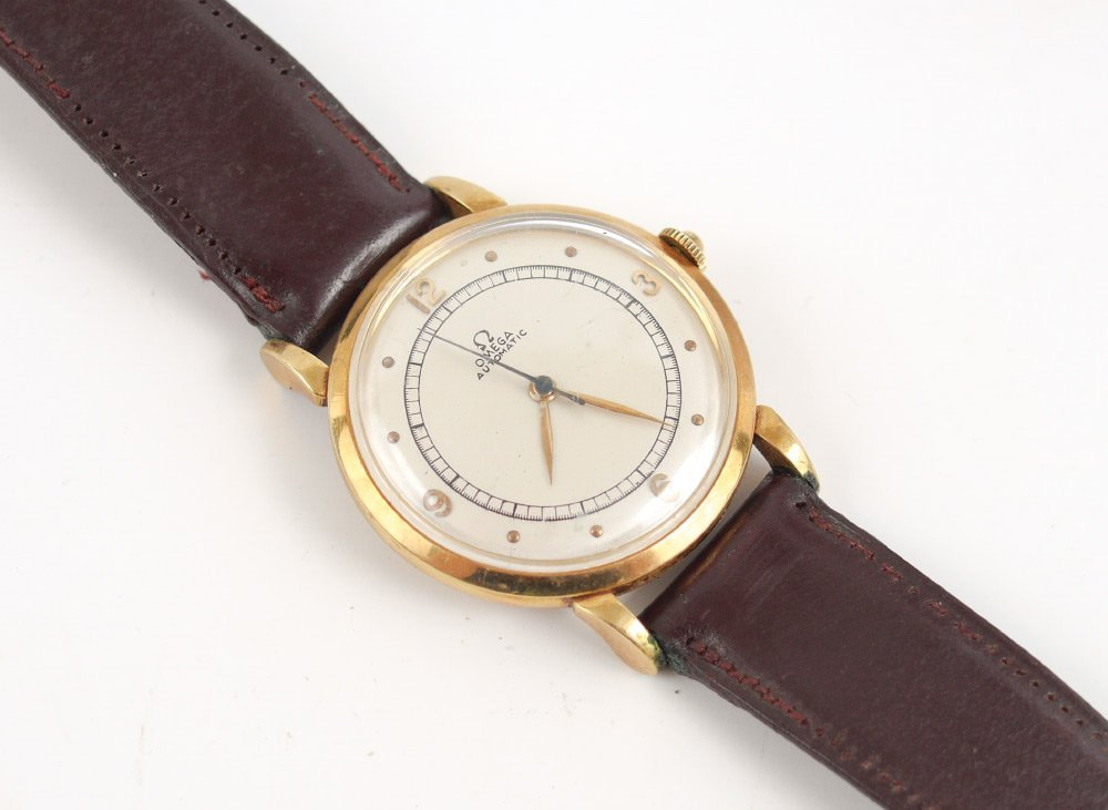 VINTAGE 18K OMEGA AUTOMATIC MEN'S WATCH LEATHER STRAP
