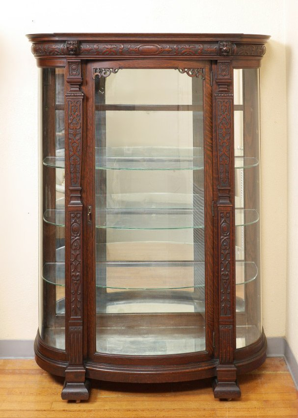 HORNER QUALITY OAK TRIPLE BOW CHINA CABINET