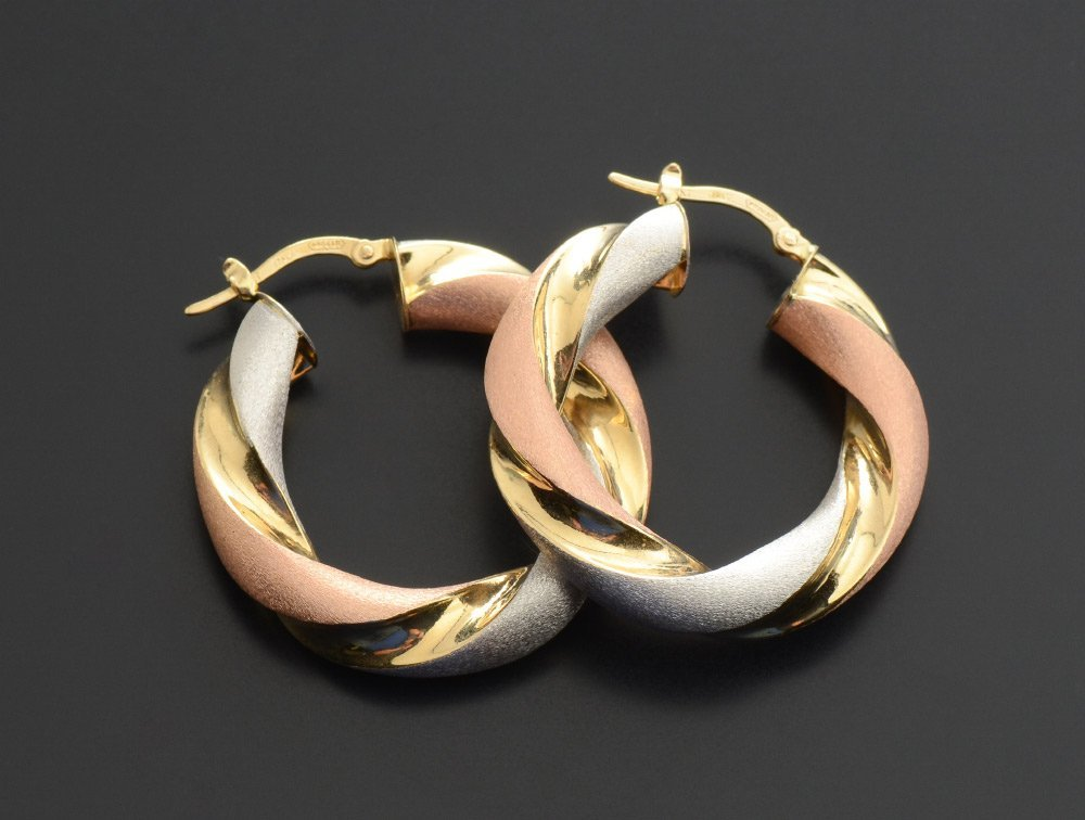 ITALIAN TRI-COLOR 18K GOLD HOOP EARRINGS
