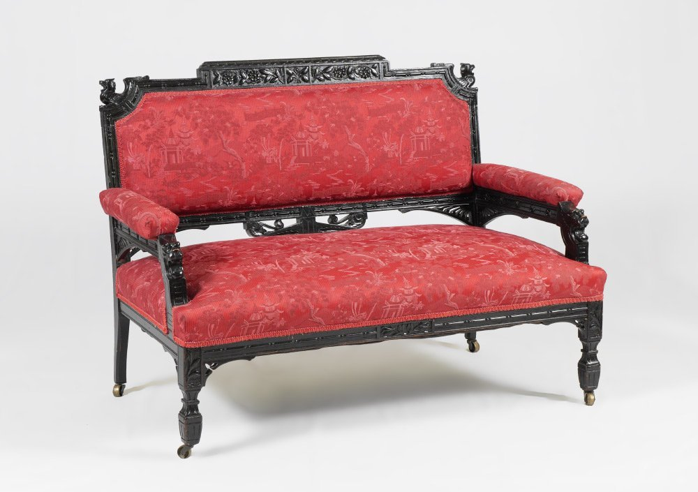 EBONIZED CARVED VICTORIAN SETTEE