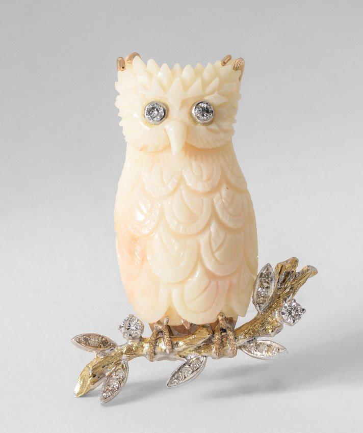 RARE MID CENTURY WHITE CORAL OWL BROOCH WITH DIAMO