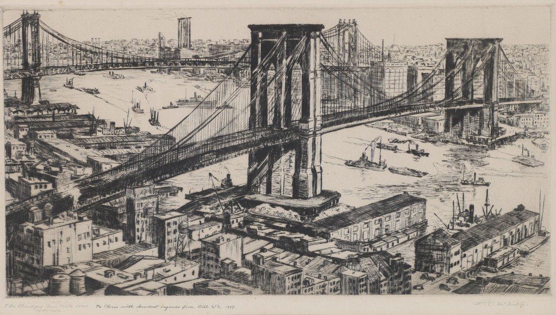 WILLIAM MCNULTY ETCHING THE BRIDGES NEW YORK 1930