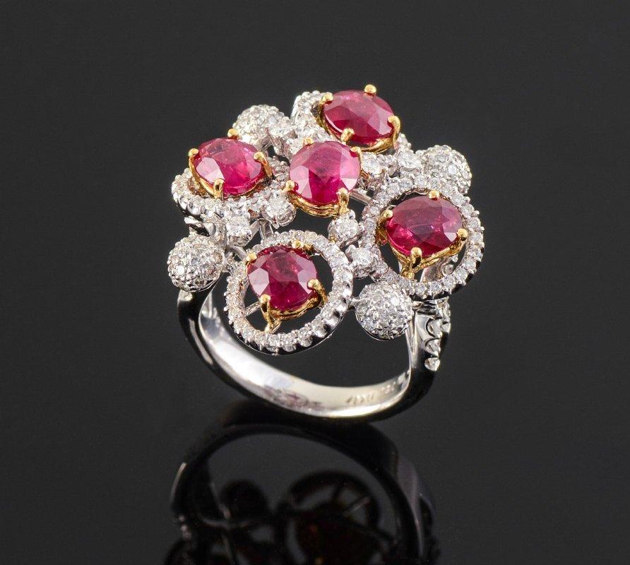 RUBY DIAMOND 18K GOLD RING SZ 7 12.9 GRAMS