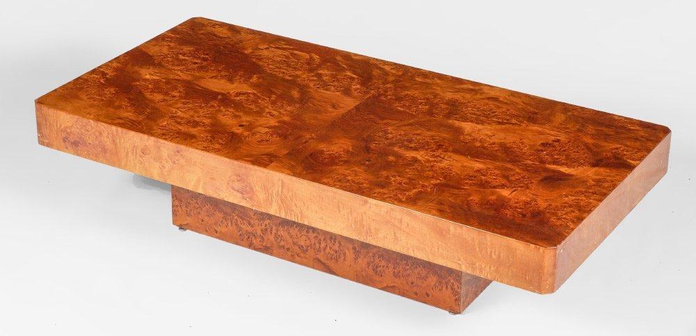 BURL WOOD VENEER LOW COCKTAIL TABLE