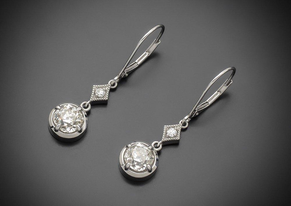 3.00 CTW OLD MINE CUT DIAMOND EARRING SET IN PLATI